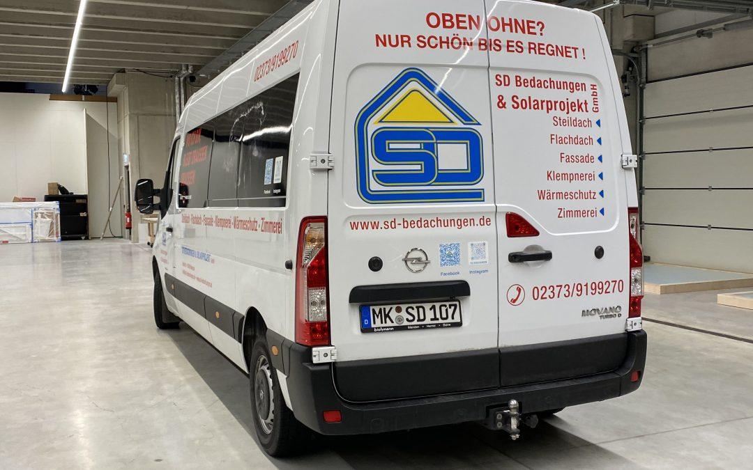Fahrzeugbeschriftung für SD Bedachungen aus Menden