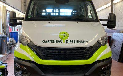 Fahrzeugbeschriftung für Garten- und Landschaftsbau Lars Kippenhahn.